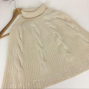 IISLI 100% Cashmere Cape Wrap Poncho Size S Ivory